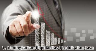 Meningkatkan Popularitas Produk atau Jasa merupakan salah satu manfaat kepuasaan pelanggan untuk perusahaan