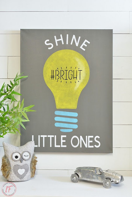 How to make fun kids room light bulb canvas art