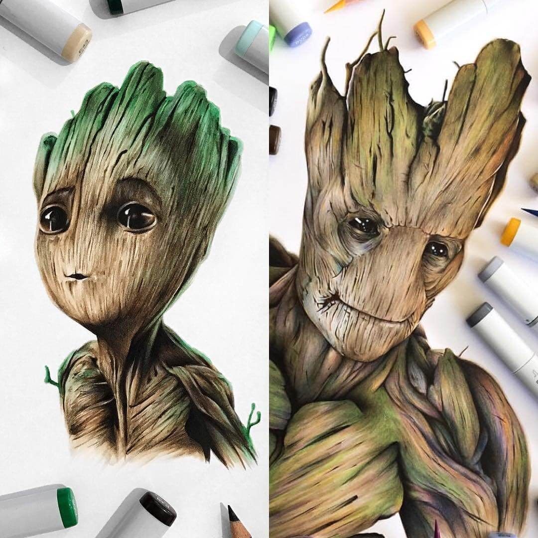 04-Groot-and-Baby-Groot-Stephen-Ward-Movie-and-Comics-Superheroes-and-Villains-Drawings-www-designstack-co