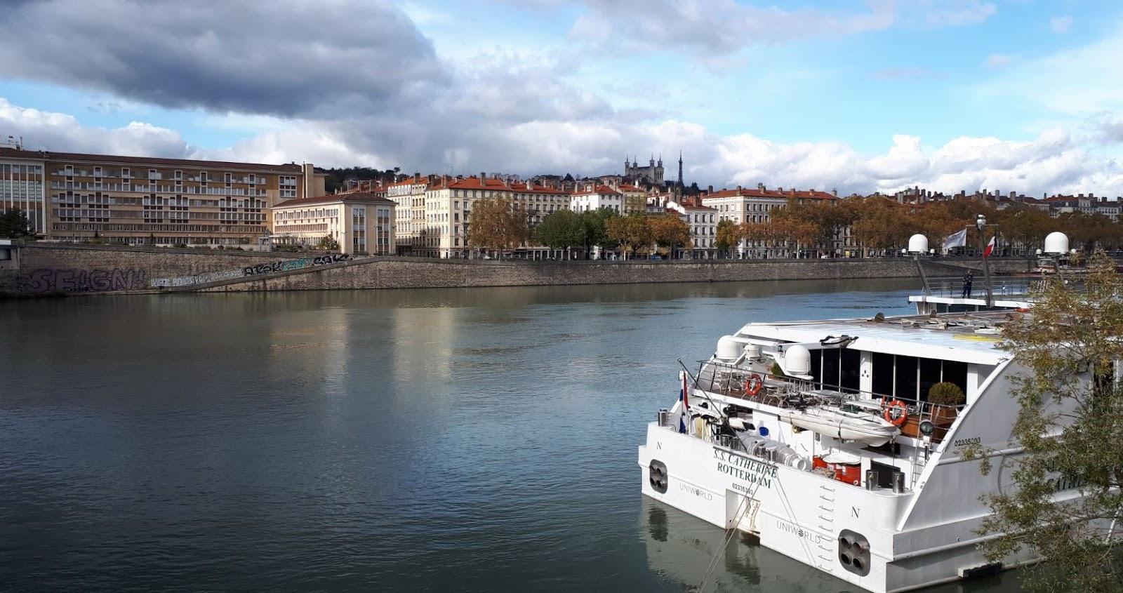 Ville de Lyon, le Rhône et la Basilique de Fourvière au loin