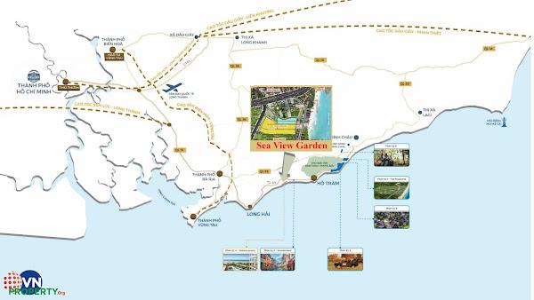 vị trí dự án đấtb nền Sea View Garden Lộc An, trên bản đồ
