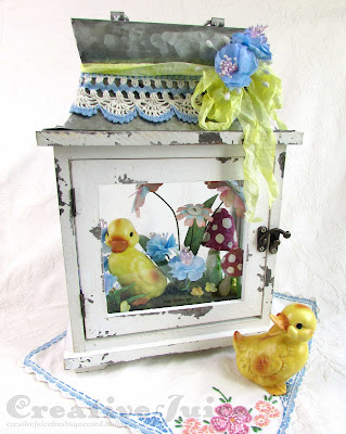 Lisa Hoel for Eileen Hull - Easter decor, vintage Lefton duckling and pretty die cut flowers