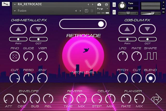 Interface da Library Rigid Audio - Retrocade (KONTAKT)