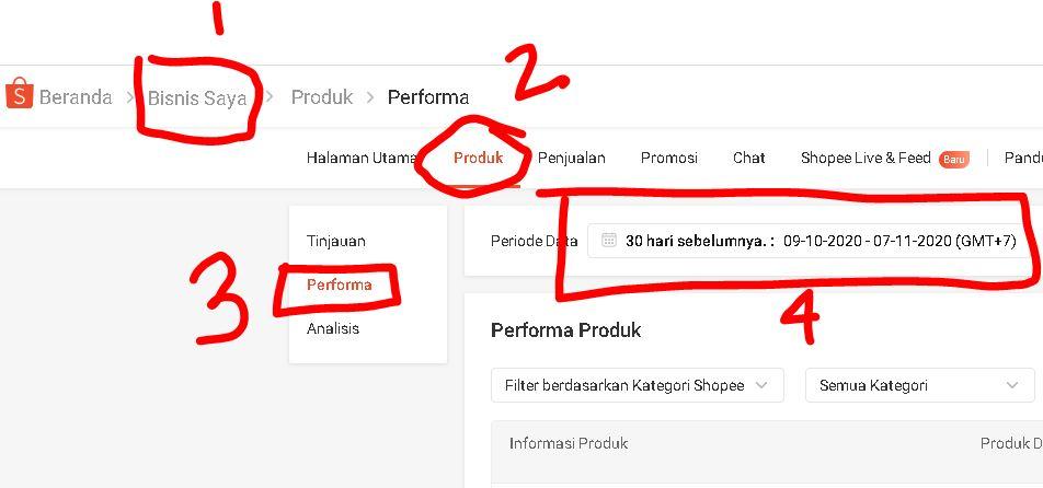 performa produk di Shopee