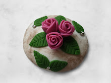 Cottage Chic Roses polymer clay fridge magnet