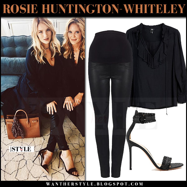 Rosie Huntington-Whiteley in black blouse and black coated jeans what she wore april 2017 maternity style