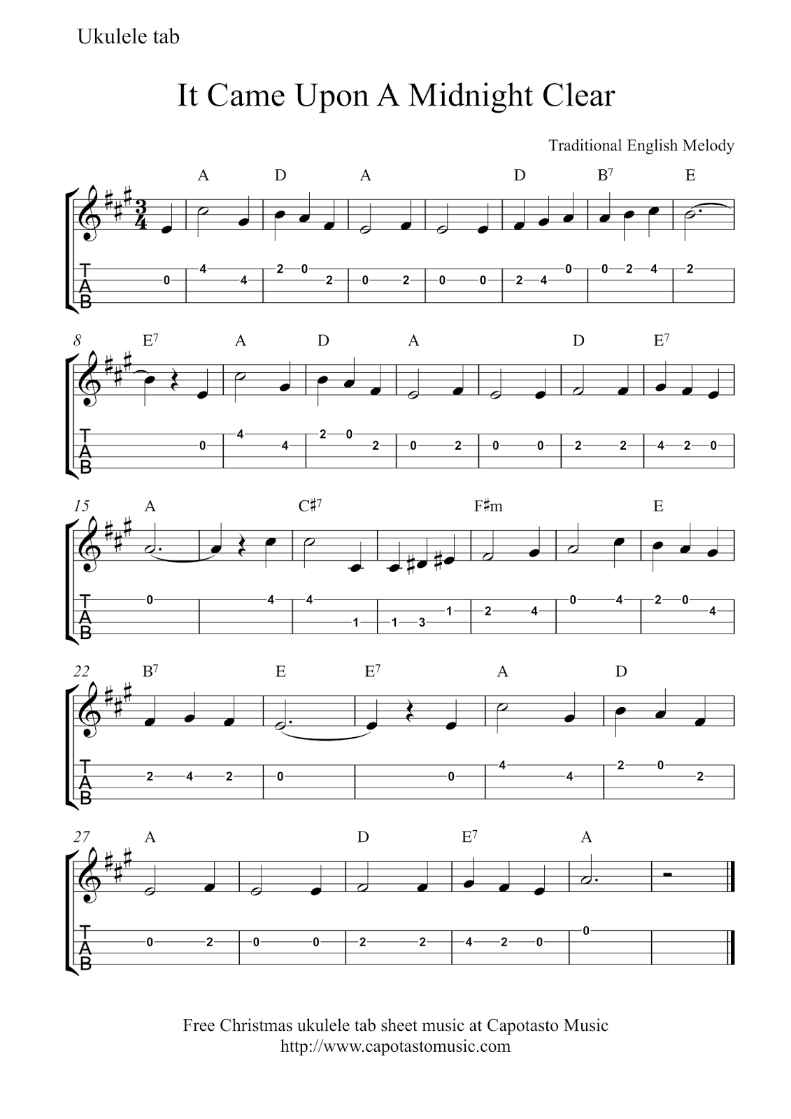 free easy christmas ukulele tab sheet music it came upon a midnight clear
