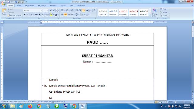 Download Contoh Format Surat Pengantar Lembaga Paud TK KB RA