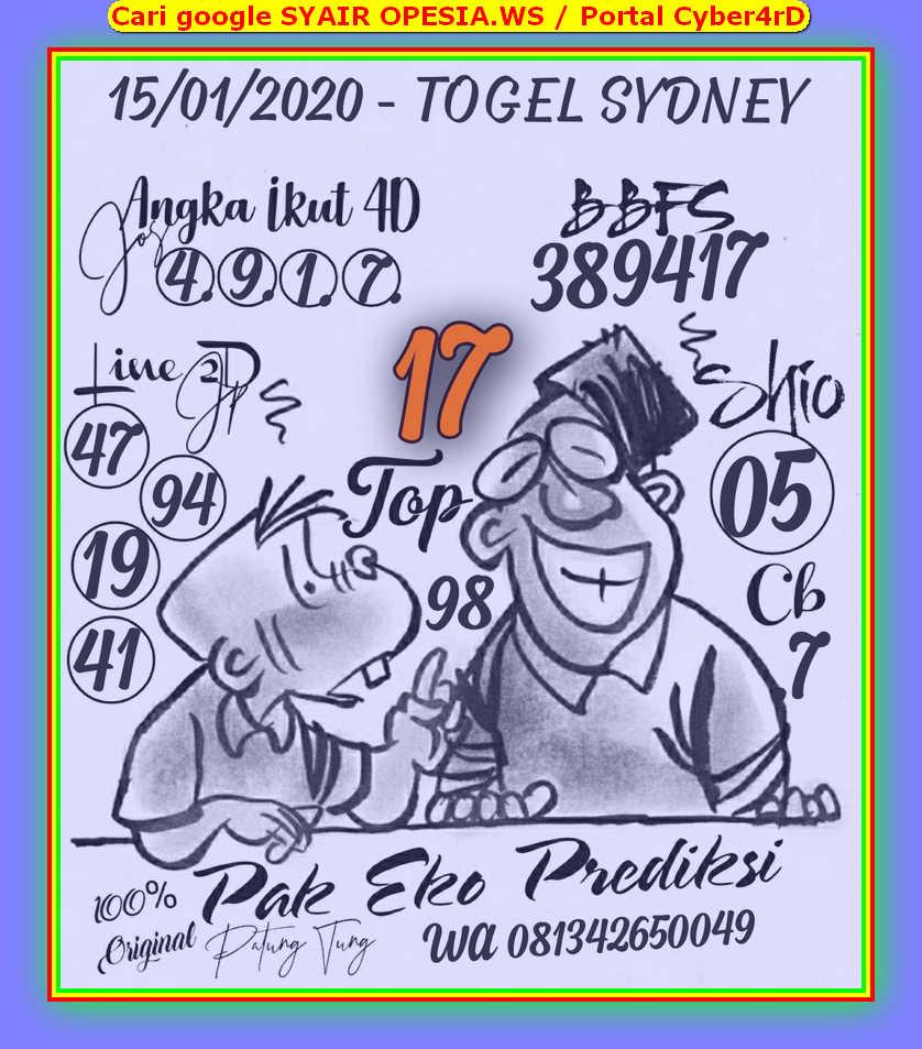Kode syair Sydney Rabu 15 Januari 2020 22