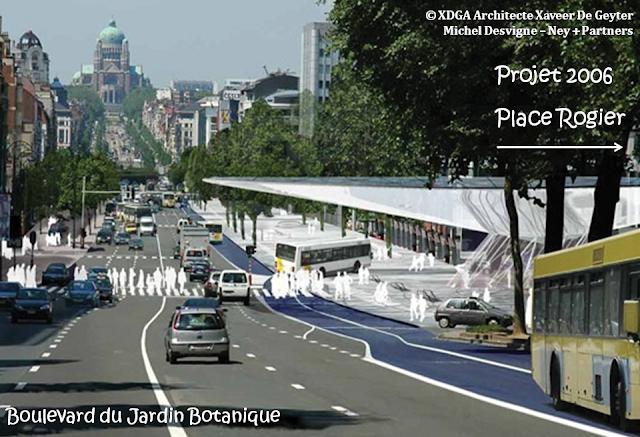 Place Rogier & Boulevard du Jardin Botanique - Perspectives d'avenir - STRIP - Promenade arborée, réservée aux piétons et aux cyclistes, reliant la place au boulevard - Auvent débordant sur le STRIP (Projet lauréat du concours européen d'architectes 2006) - Bruxelles-Bruxellons