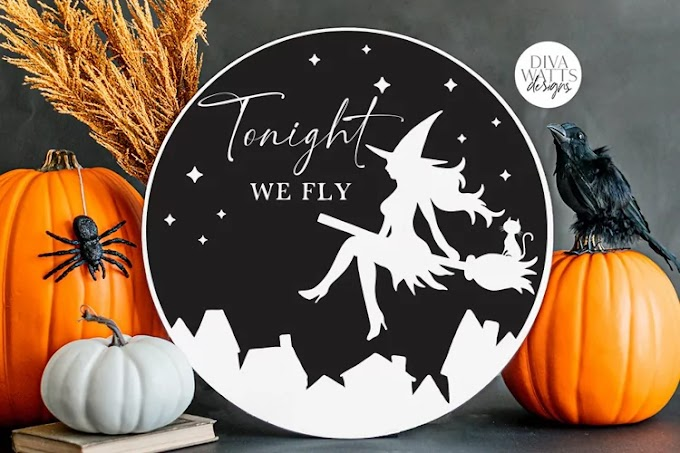 Tonight We Fly SVG   Halloween Flying Witch Design