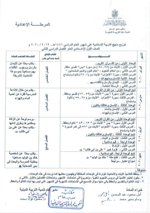 توزيع مناهج التربية الدينية الاسلامية لكل الصفوف و المراحل (ابتدائي - اعدادي - ثانوي) للعام الدراسي 2019 / 2020 2