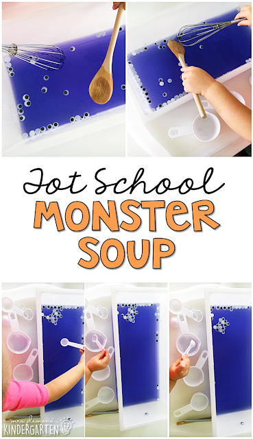We LOVE this easy monster soup sensory bin. Great for Halloween in tot school, preschool, or even kindergarten!