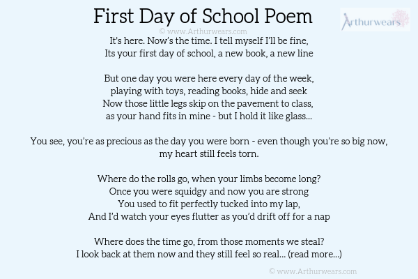 First day of school poem starting school