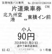 西鉄バス北九州 北九州空港リムジンバス乗車券