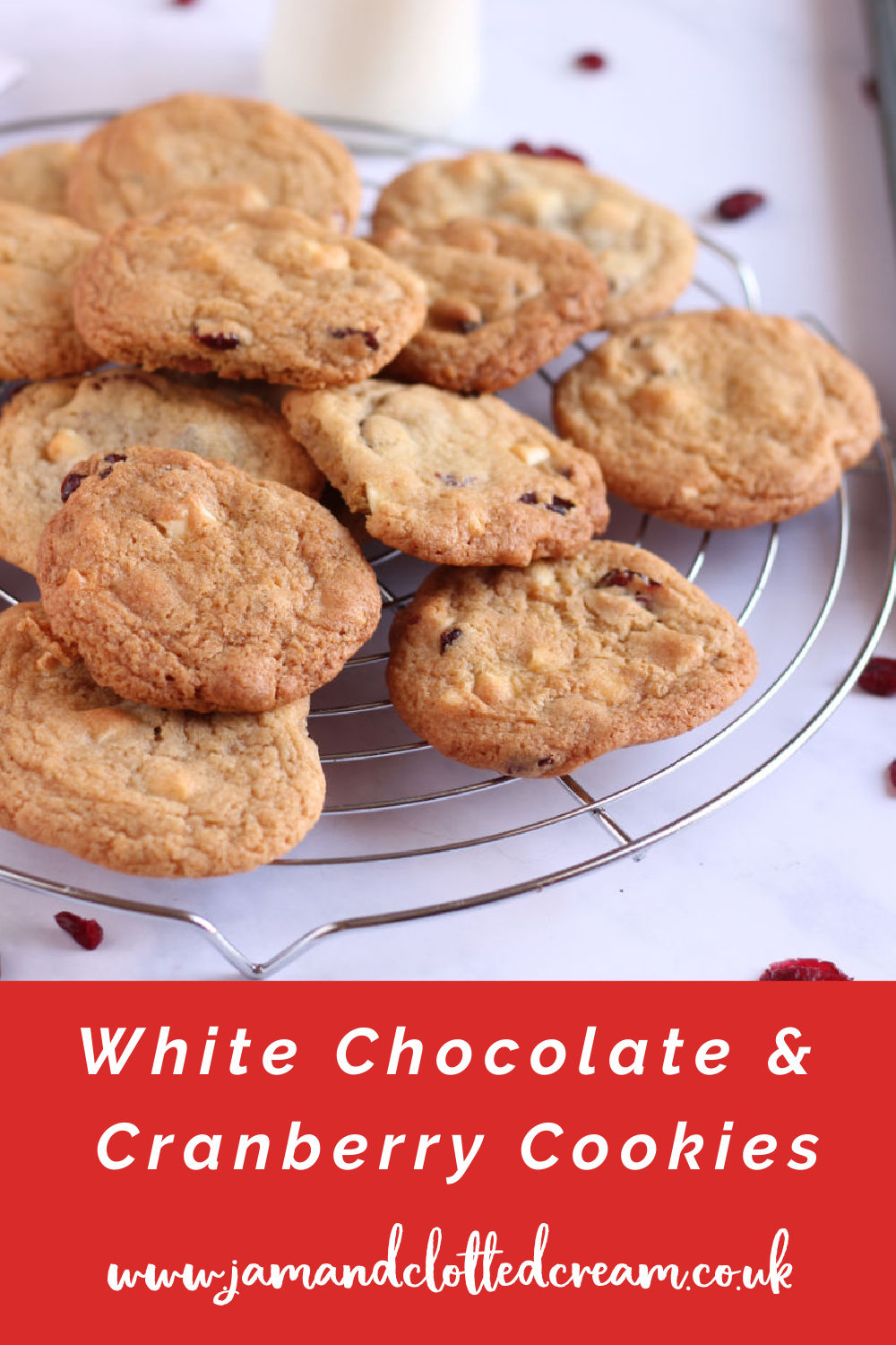 White chocolate and cranberry cookies pin with text overlay.
