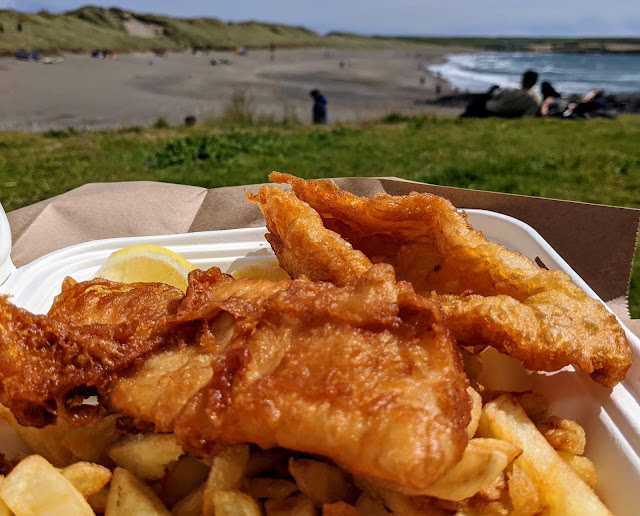 West Cork Ireland - Fish and Chips from the Fish Basket in Long Strand