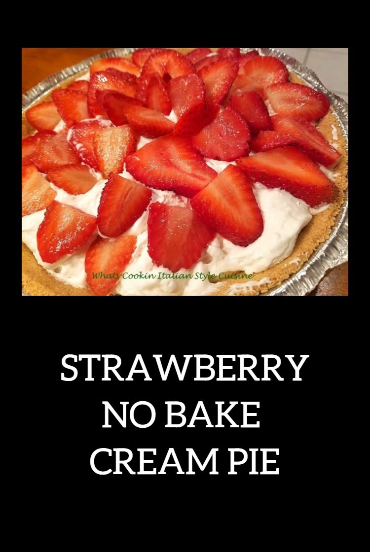 this is a no bake cheesecake with strawberries on top and graham cracker crust