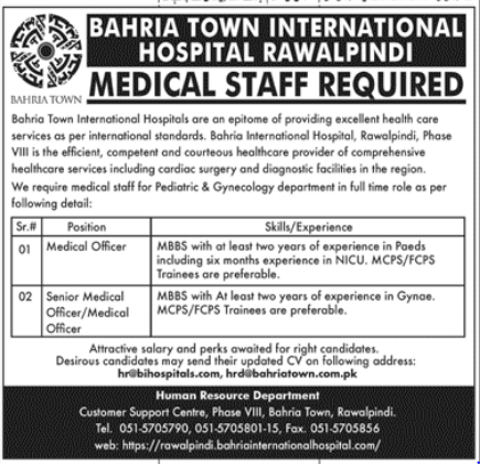 Advertisement for Bahria Town Hospital Jobs