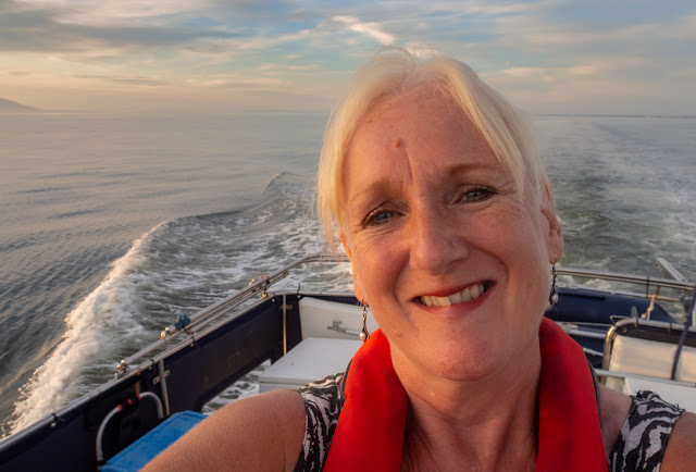 Photo of me enjoying the evening sun on Ravensdale's aft deck on the way back to Maryport