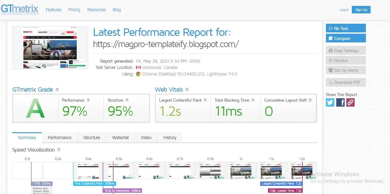 Magpro blogger template web speed test