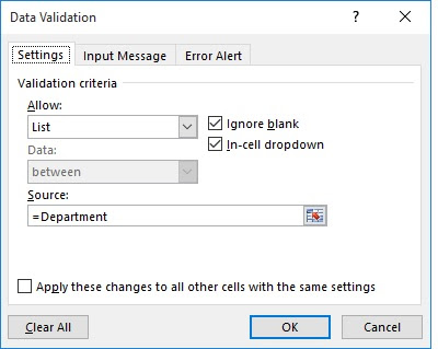Create Data Validation List in excel 2013 2016