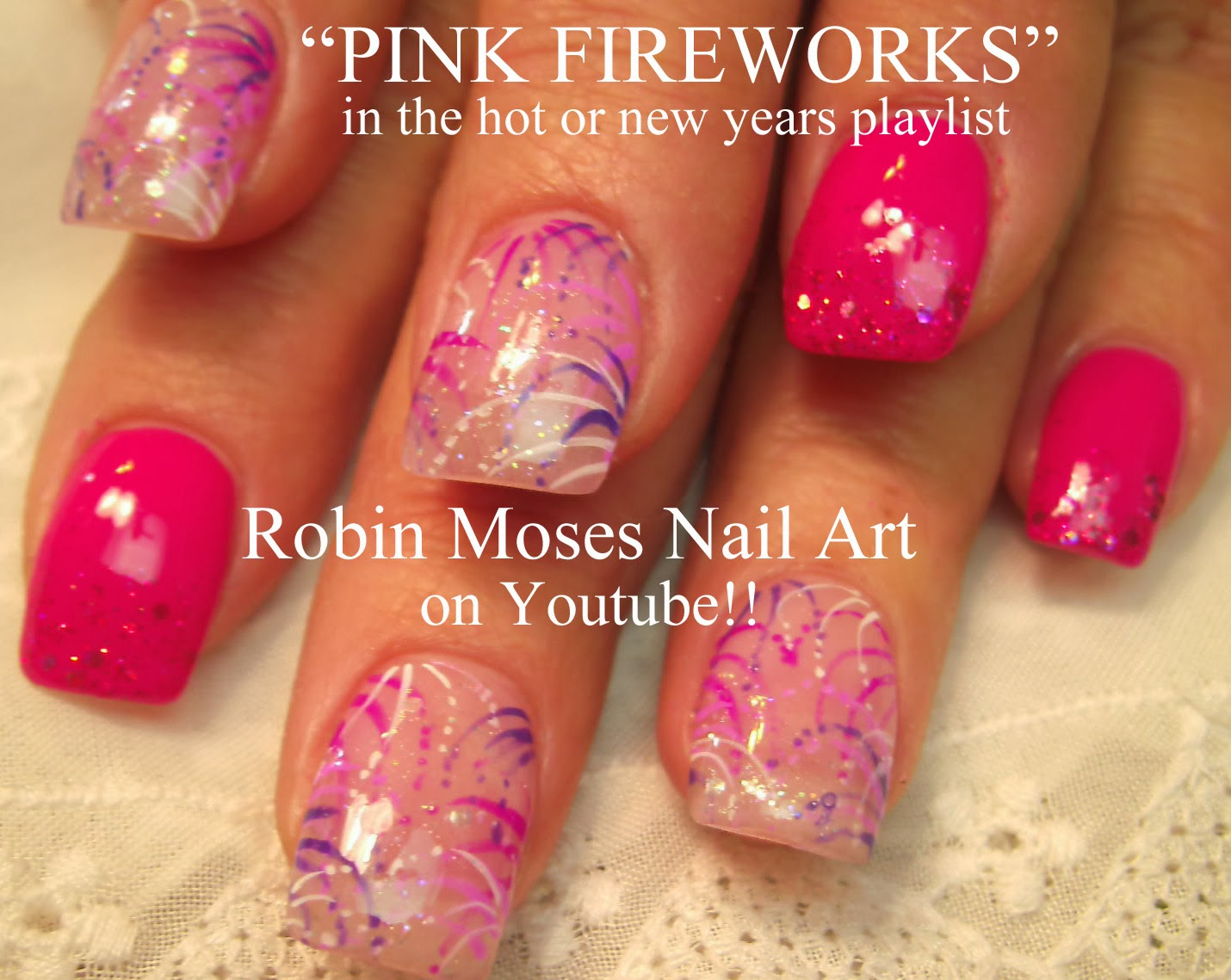 New Years Eve Nail Art 2014 Pink Fireworks Diva Party People Firework Nails Nye