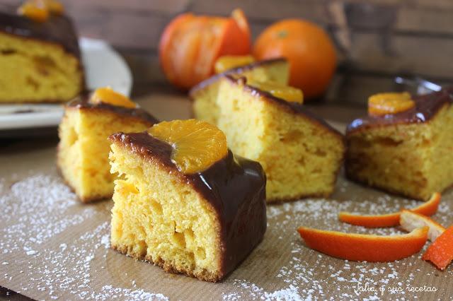 Bizcocho de mandarina y chocolate al cardamomo. Julia y sus recetas