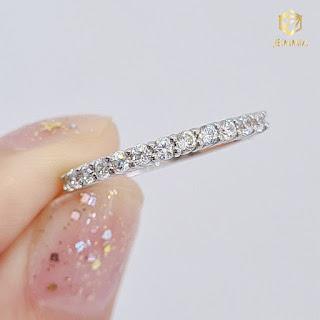 Nhẫn kim cương tấm Minimalism rực rỡ, tinh tế