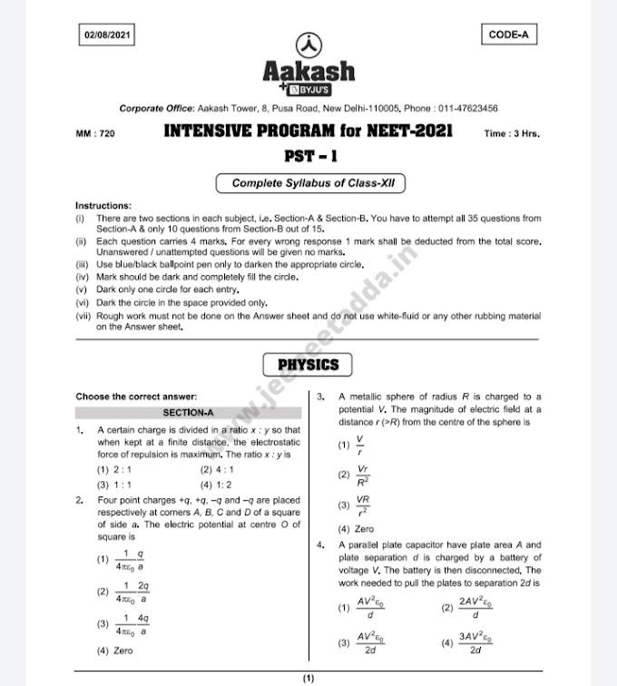 Aakash Intensive Test Series For Neet 2021