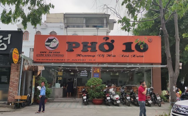 Địa chỉ quán Phở 10 Hương vị Hà Nội xưa: 74 Song hành, An Phú, Quận 2