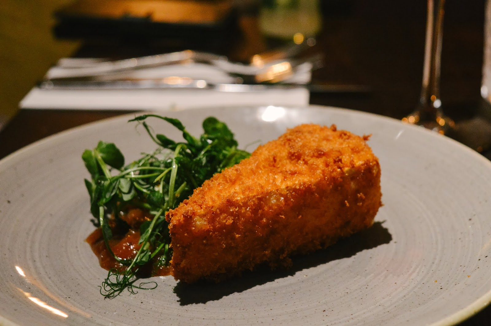 Deep fried brie with gin chutney at The Old Forge