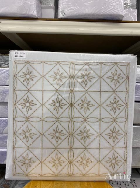 Hotfix stickers dmc rhinestone aplikasi tudung bawal fabrik pakaian rekaan geometrik kotak & bunga gold on gold