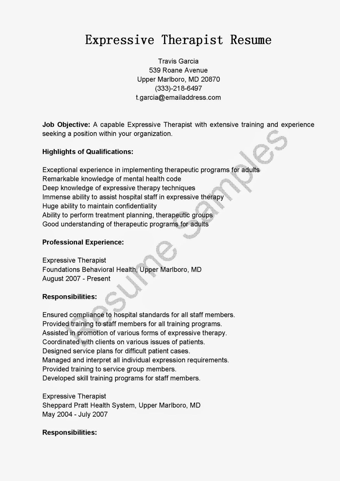 resume samples expressive therapist resume sample