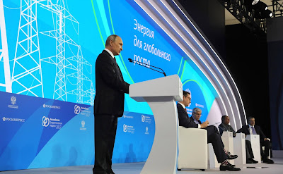 Vladimir Putin during the Energy for Global Growth plenary session at the first Russian Energy Week Energy Efficiency and Energy Development International Forum.