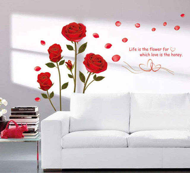 Decals Design 'Romantic Rose Flowers' Wall Sticker (PVC Vinyl, 50 cm x 70 cm, Multicolour)