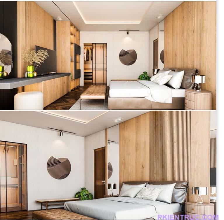 các góc nhìn phối cảnh khác nhau của phòng ngủ