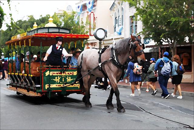 Horse drawn carriage, Disneyland, California.