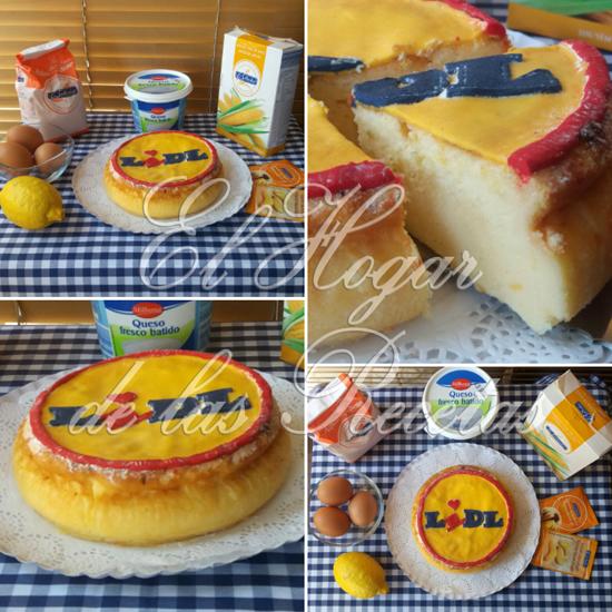 Tarta de queso crema o quark decorada con fondant reproduciendo el logotipo de Lidl