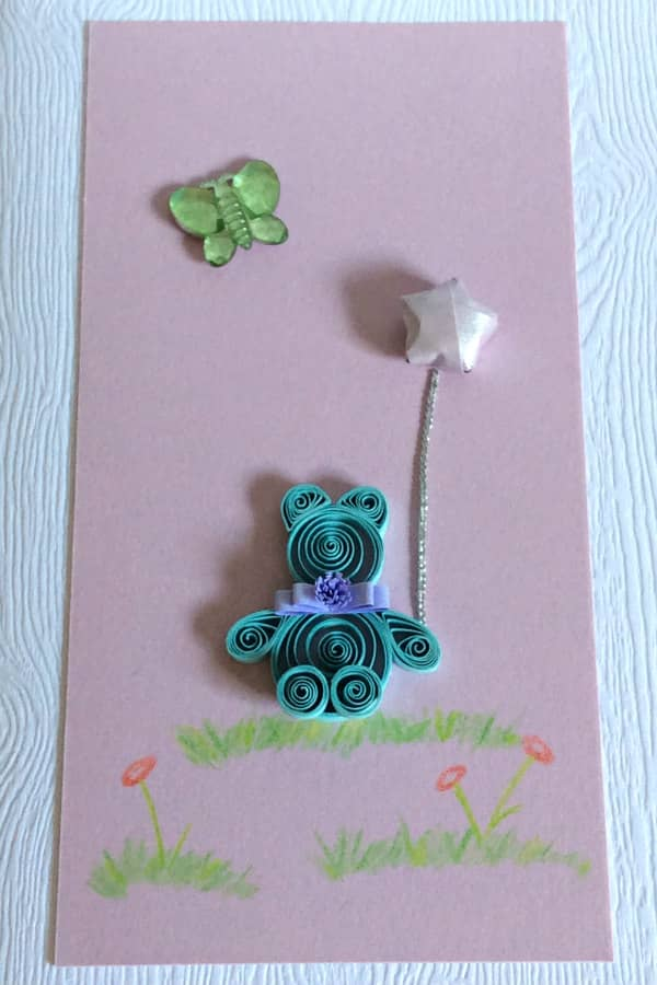 handmade baby card with quilled bear - detail