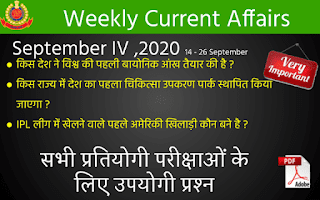 Weekly Current Affairs Quiz ( September IV , 2020 )
