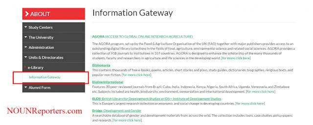 Click on Information Gateway NOUN Edu portal