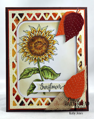 Our Daily Bread Designs Stamp Set: Be A Sunflower, Paper Collection: Follow the Son, Custom Dies: Stitched Leaves, Rounded Rectangles, Pennant Flags, Lattice Background