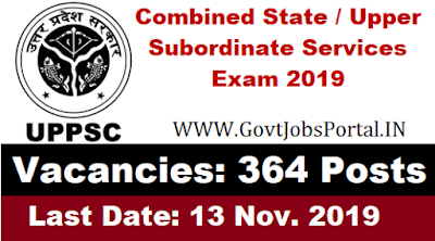 UPPSC Recruitment 2019 for 364 Officer Posts