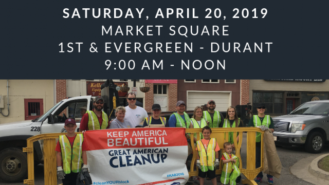 Great American Cleanup slated for Durant's Market Square with lunch and prizes