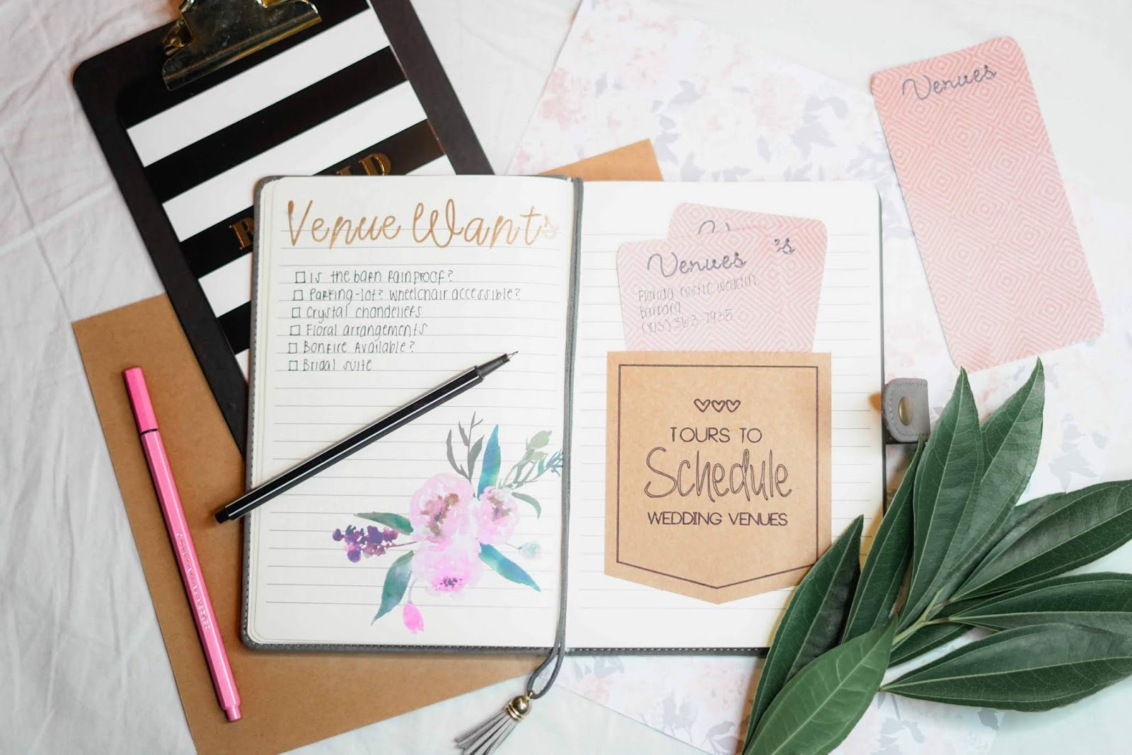 wedding planner flatlay