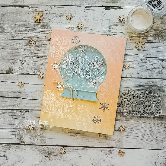 Snow Globe Let it Snow Card by Naki Rager | Let it Snow Stamp Set and Snow Globe Shaker Die Set by Newton's Nook Designs #newtonsnook #handmade