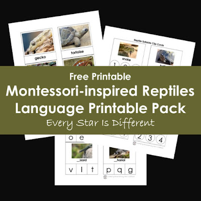Montessori-inspired Reptiles Language Printable Pack (Free Printable)