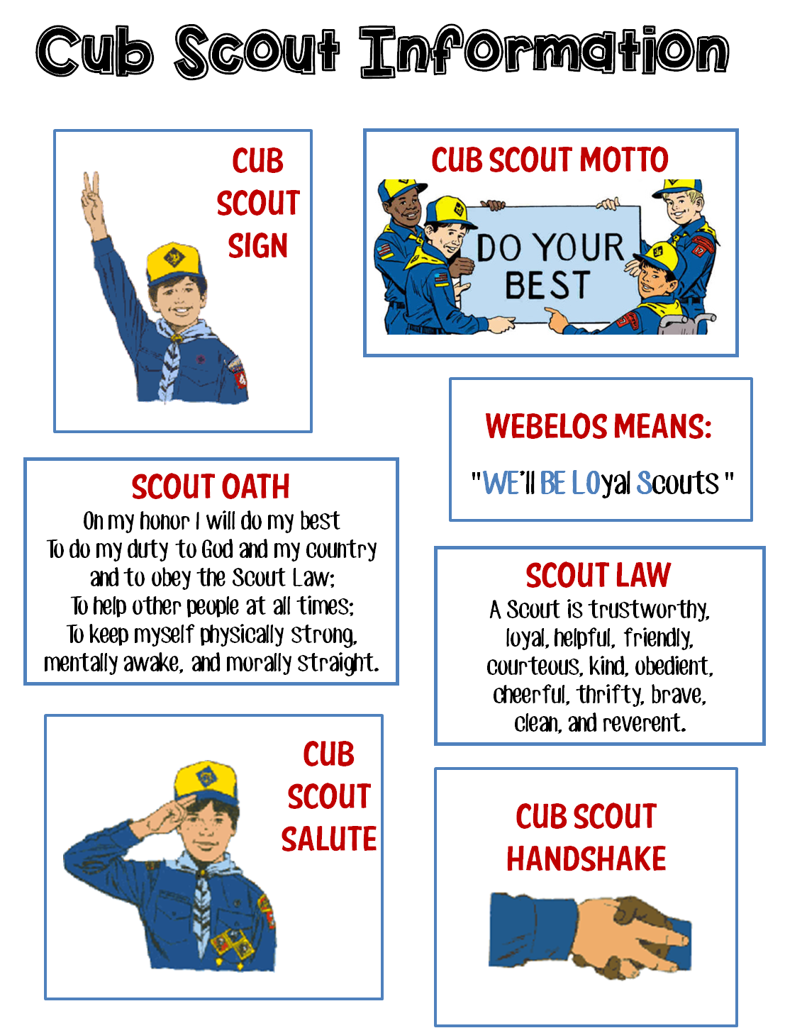 Bright image within boy scout oath and law printable
