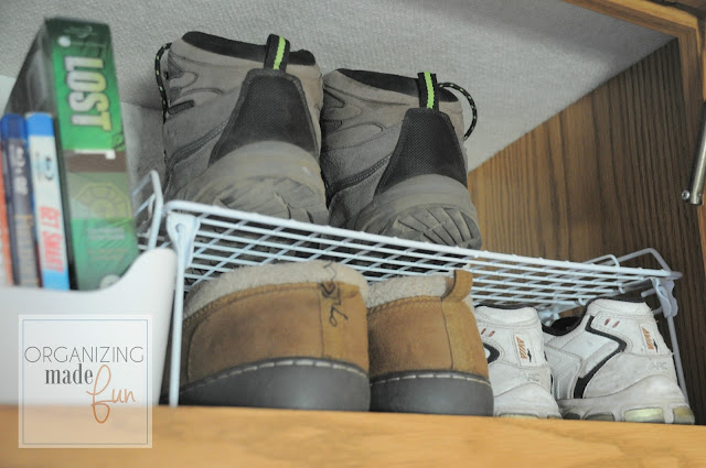 Wire stacking shelf rack to hold shoes :: OrganizingMadeFun.com